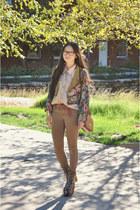 tapestry floral vintage jacket - skinny asos jeans - leather vintgae bag