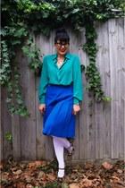 Wittner heels - Vintage thrifted Fletcher Jones shirt - columbine tights