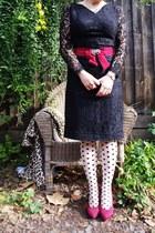 Vintage etsy dress - portmans tights - Wittner heels - cotton on cardigan
