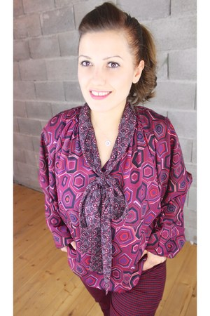 crimson 100 polyester Basler blouse - maroon Laura Ashley pants