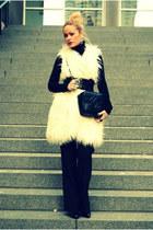 black Ralph Lauren sweater - black Chanel bag - black Zara pants - white faux fu