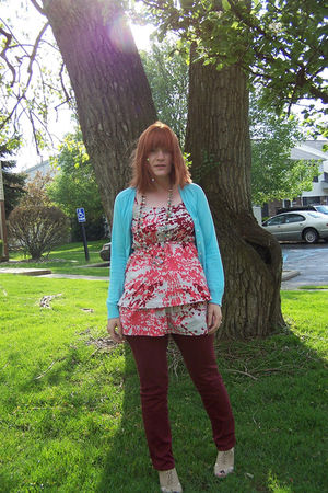 blue Jcrew cardigan - orange modcloth dress - red delias pants - beige Forever 2