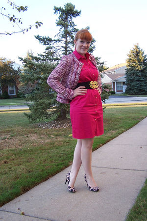pink dress - pink jacket - pink Jessica Simpson shoes