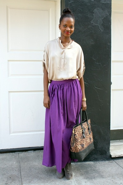 maxi skirt Zara skirt - wedge Zara boots - leopard print C Wonder bag