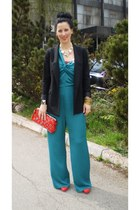 black Zara blazer - red Mango bag - turquoise blue H&M jumper - H&M accessories