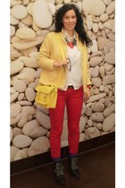 black New Yorker boots - red Bershka jeans - yellow vintage blazer - yellow New
