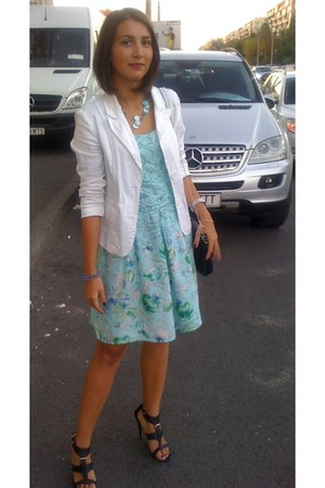 black purse - turquoise blue random brand dress - white blazer - black sandals