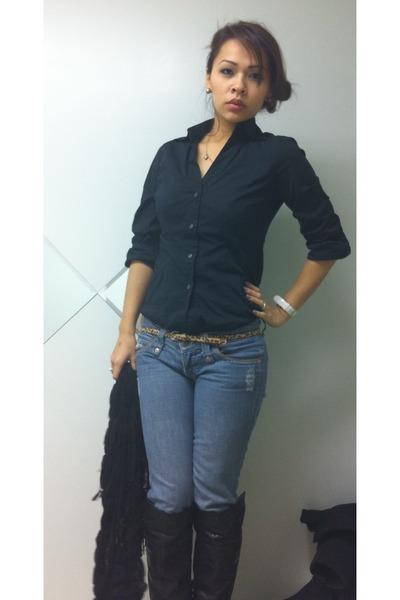 black Express shirt - brown Forever 21 belt