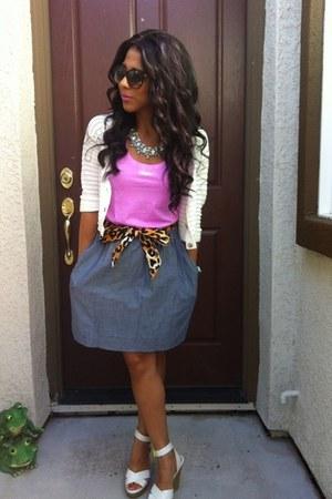 diy ribbon belt belt - sunglasses - skirt - white wedges