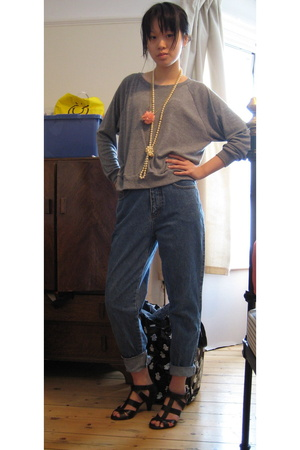 American Apparel top -  jeans - Zara shoes - Japan and Charity Shop necklace