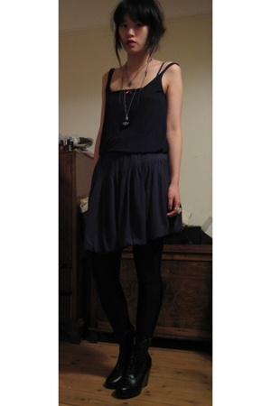 Topshop vest - H Chalayan skirt - Opening Ceremony shoes - American Apparel legg