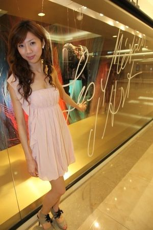 Pink silk dress dress - gray high heels shoes