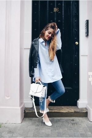 white Mansur shoes - light blue Topshop jeans - dark gray All Saints jacket