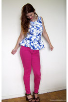 white Forever 21 top - hot pink Smart Set jeans - white H&M necklace