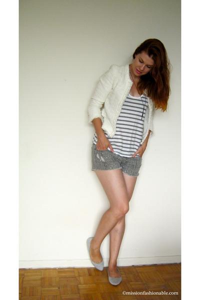 heather gray Aerie top - white Smart Set blazer - heather gray Ardene shorts