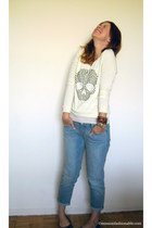 ivory Ardene sweater - light blue Old Navy jeans - brown Ardene flats