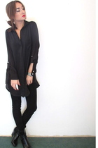 black Zara blouse - black Zara pants - black we who see shoes