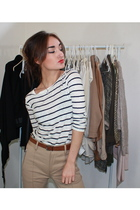 white Zara top - beige Zara pants - Zara belt