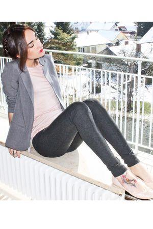 pink Zara shirt - gray Silence&Noise blazer - gray Zara leggings - pink Zara sho