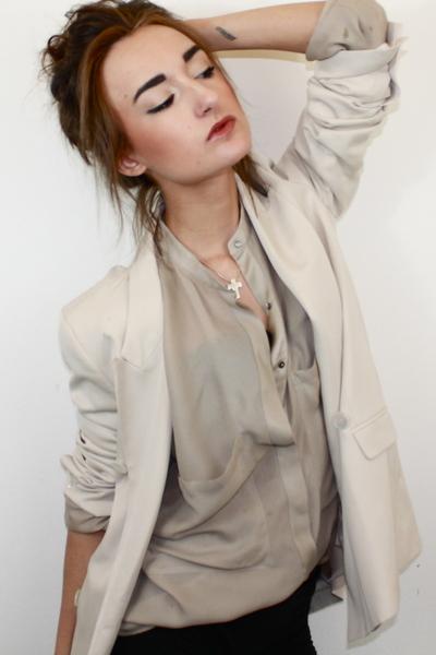 beige Zara blouse - beige Zara blazer - black DIY shorts - black H&M bra