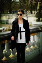 black Naf Naf coat - black Zara pants - white Eleven Paris t-shirt