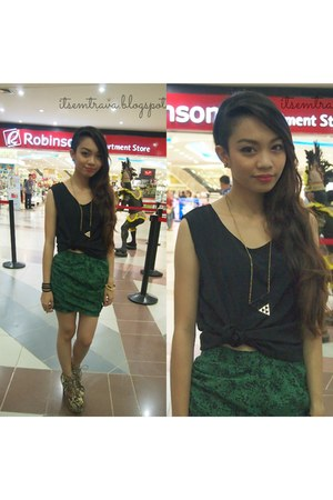 tan luxury mall boots - forest green snakeskin print self-made skirt