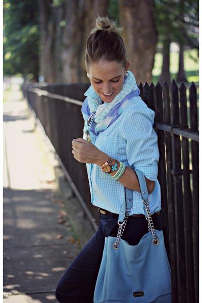 sky blue thrifted shirt