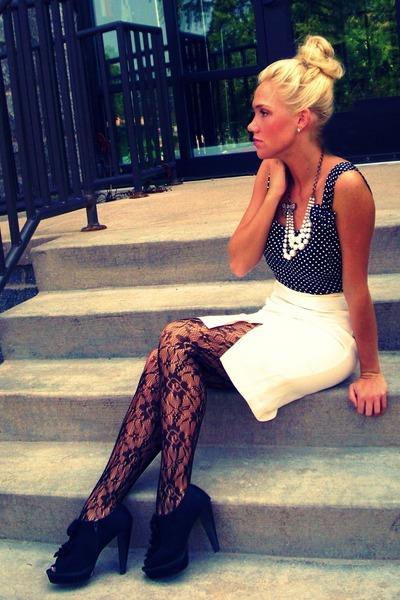 cream vintage skirt - black Top Shop tights - black vintage top