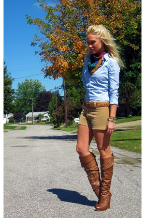 camel vintage shorts - dark brown Jessica Simpson boots - sky blue a&f shirt