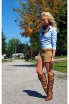 camel vintage shorts - dark brown Jessica Simpson boots - sky blue a&f shirt