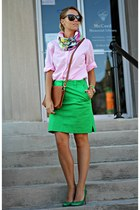 green Ralph Lauren skirt - bubble gum Tommy Hilfiger shirt