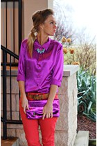 coral Marshalls pants - purple Steve Madden bag - magenta vintage top