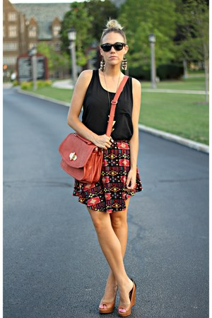 carrot orange PacSun skirt - brown BCBG wedges