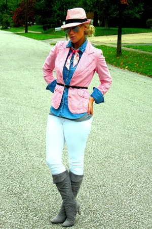 bubble gum Tommy Hilfiger blazer - hot pink coach scarf - black H&M belt
