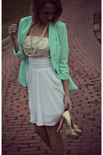 aquamarine asos blazer - gold edressycom dress