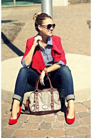 navy Nine West jeans - ruby red madewell heels