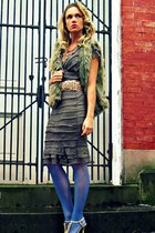 heather gray BCBG dress - blue UO tights - light brown Michael Kors vest
