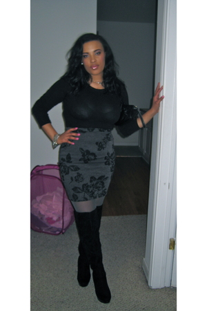 black Forever 21 top - gray Forever 21 skirt - black Forever 21 boots - silver F