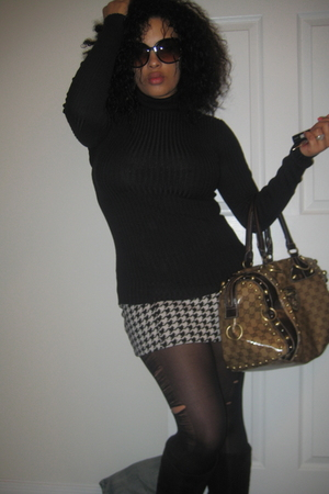 black Express skirt - white Forever 21 skirt - black Forever 21 tights - black C