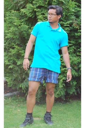 turquoise blue Piquet Shirt t-shirt - dark gray hex Reebok shoes