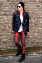 red metallic red asos jeans - black lace-up dior homme sneakers