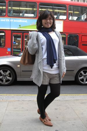 gray Oasis cardigan - white H&M shirt - blue Zara scarf - gray Zara shorts - bla