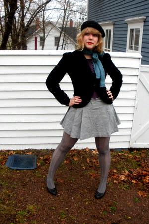 purple Kenzie shirt - heather gray joe fresh style skirt - black Hot Kiss blazer