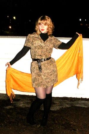 black Spring shoes - camel vintage dress - silver faux-leather Suzy Shier jacket
