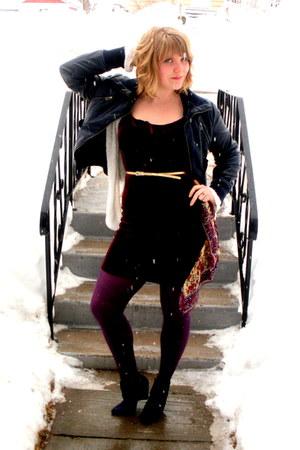 crimson velvet thrifted dress - navy faux leather le chateau jacket - deep purpl