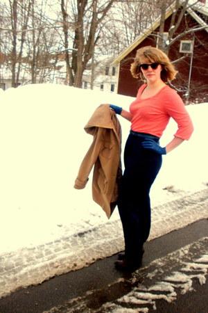 dark brown Spring boots - camel old navy thrifted coat - blue leather vintage gl