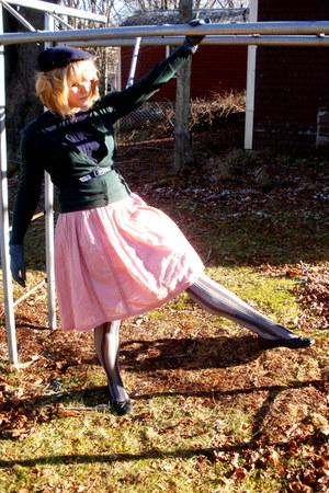 navy Gap t-shirt - forest green from japan cardigan - pink joe fresh style skirt