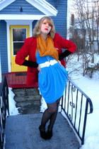 red vintage blazer - black Suzy Shier cardigan - turquoise blue random brand dre