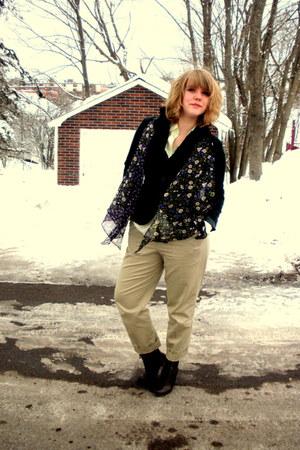 dark brown Spring boots - dark green velvet H&M thrifted blazer - lime green sil