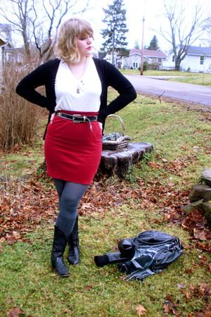 black Suzy Shier cardigan - black cowboy boots vintage boots